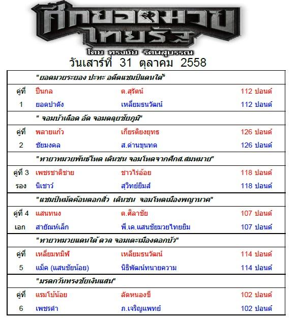 ใบรายการ ศึกยอดมวยไทยรัฐ 31 ต.ค. 58