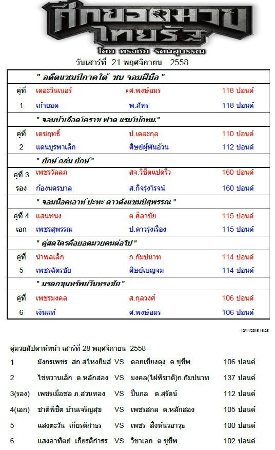 ศึกยอดมวยไทยรัฐ วันเสาร์ที่ 21 พ.ย. 58