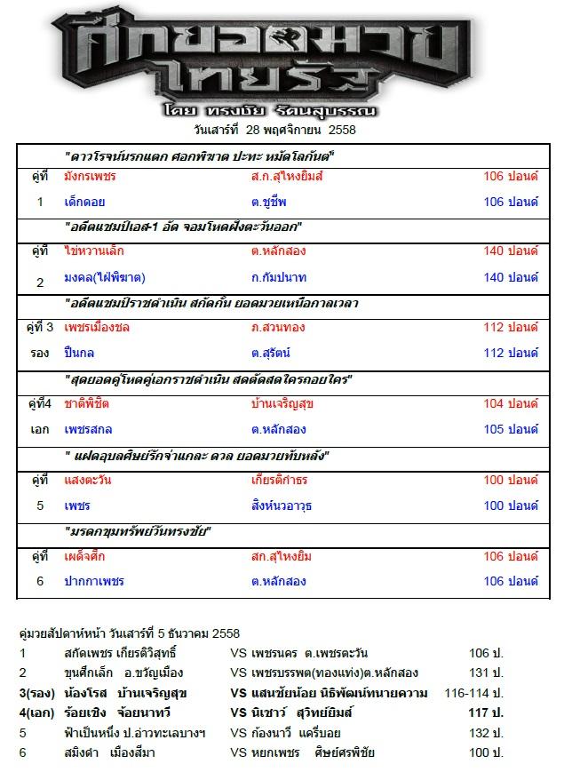 ศึกยอดมวยไทยรัฐ 28 พ.ย. 58