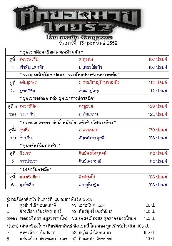ศึกยอดมวยไทยรัฐ 13 กุมภา 59